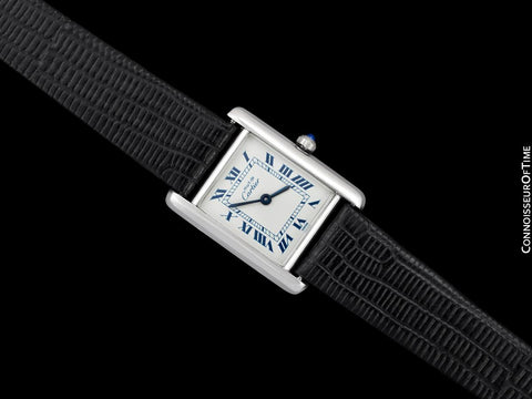 Cartier Vintage Ladies Tank Watch - 18K White Gold over Sterling Silver