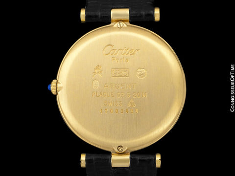 Must De Cartier Vendome Mens Midsize Unisex Vermeil Watch - 18K Gold Over Sterling Silver