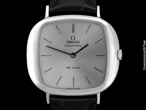 "1973 Omega De Ville Mens Automatic Retro Full Size ""TV"" Watch - Stainless Steel"