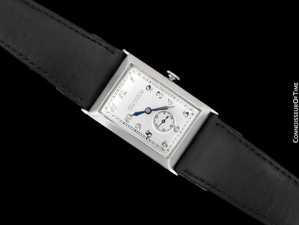 "1920's Patek Philippe ""Curvex"" Vintage Mens Art Deco Rectangular 18K White Gold Watch - Breguet Numerals"