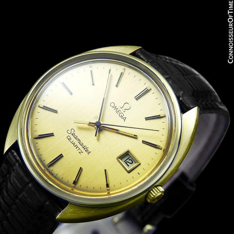 1980 Omega Seamaster Classic Vintage Mens Full Size Accuset Watch, Date - 18K Gold Plated & Stainless Steel
