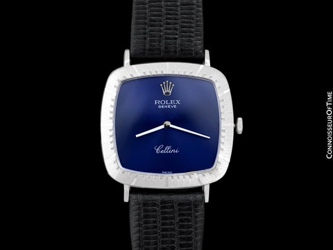1973 Rolex Cellini Vintage Mens Midsize Handwound TV Watch, Ref. 4084 - 18K White Gold