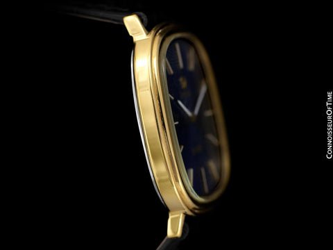 1974 Omega De Ville Vintage Mens Handwound Ellipse Ultra Thin Dress Watch - 18K Gold Plated & Stainless Steel