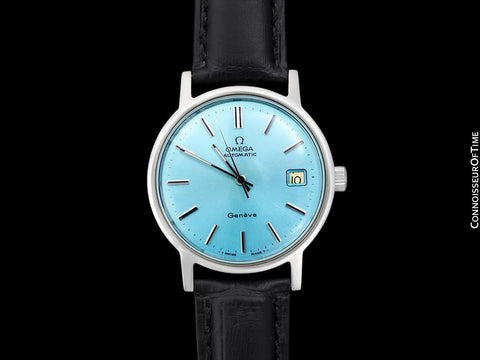 1975 Omega Geneve Vintage Mens Automatic Watch with Tiffany Blue Dial - Stainless Steel