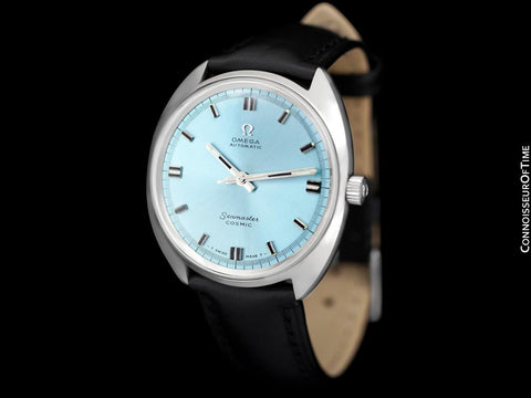 1960's Omega Vintage Mens Seamaster Cosmic Retro Cal. 552 Watch with Tiffany Blue Dial - Stainless Steel