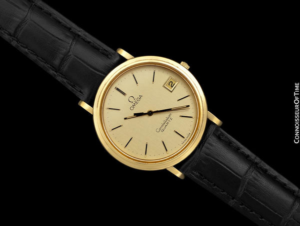 1980 Omega Constellation Mens Vintage Quartz Accuset Watch - 18K Gold Plated & Stainless Steel