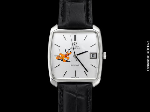 1970 Omega De Ville Vintage Mens Automatic Dress Watch with Disney's Pluto Dog - Stainless Steel