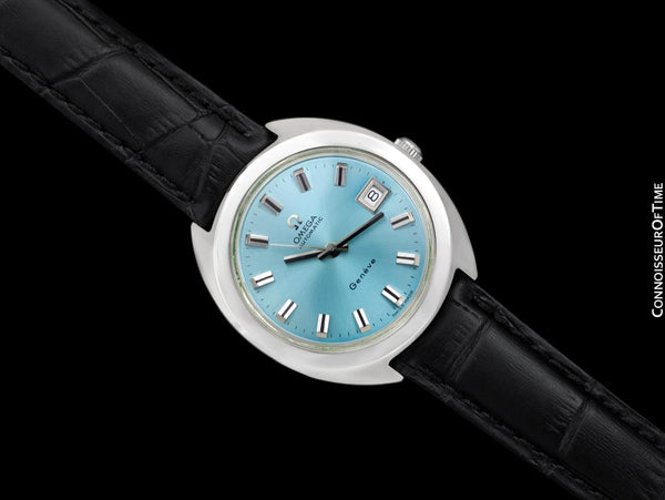 1970 Omega Geneve Vintage Mens Rare Large 37mm Cal. 565 Automatic Watch with Tiffany Blue Dial - Stainless Steel