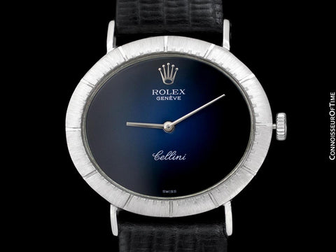 1967 Rolex Cellini Vintage Mens Midsize Handwound Watch, Ref. 4083 - 18K White Gold