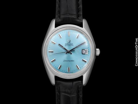 1970 Omega Seamaster Mens Vintage Watch with Cal. 565 Movement and Tiffany Blue Dial - Stainless Steel