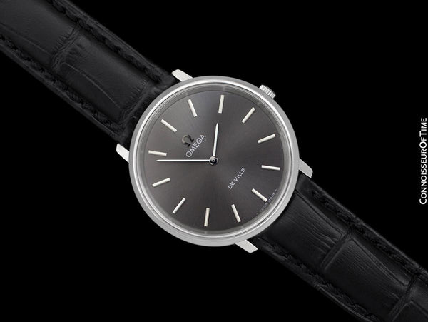 1973 Omega De Ville Vintage Mens Handwound Black Dial Dress Watch - Stainless Steel