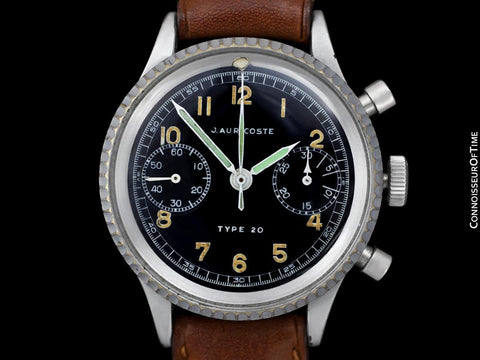 1955 J. Auricoste Vintage Mens French Type 20 (Breguet XX style) Flyback Military Chronograph Watch