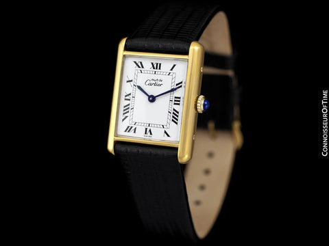 Cartier Vintage Mens Tank Mechanical Watch - Gold Vermeil, 18K Gold over Sterling Silver