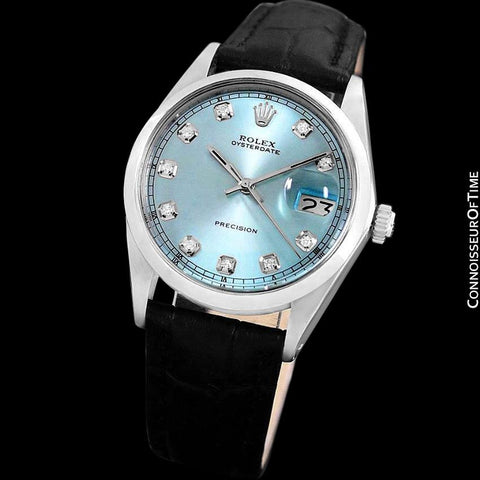 1969 Rolex Oysterdate Mens Vintage Tiffany Blue Dial Watch - Stainless Steel & Diamonds