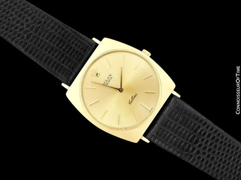1960's Rolex Cellini Vintage Mens Midsize Handwound Watch, Ref. 3714 - 18K Gold