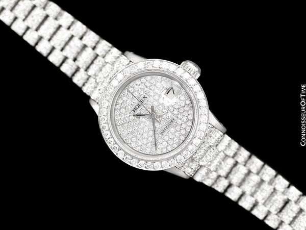 Rolex Super President Ladies Datejust 18K White Gold & 6 Ct. Diamond Watch