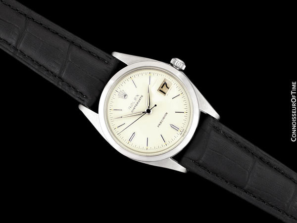 1958 Rolex Oysterdate Vintage Mens Handwound Watch with Roulette Date - Stainless Steel