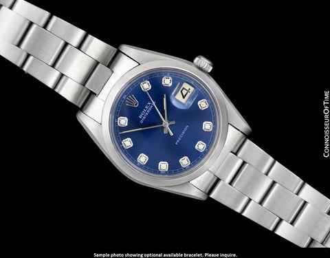 1973 Rolex Oysterdate Vintage Mens Blue Dial Watch with Date - Stainless Steel
