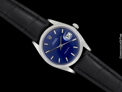 1961 Rolex Oysterdate Vintage Mens Blue Dial Watch with Date - Stainless Steel