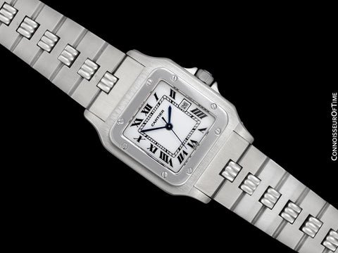 Cartier Santos Mens Automatic Stainless Steel Watch with Godron Bracelet