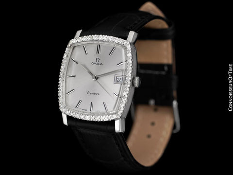 1970's Omega Geneve Vintage Mens Handwound Watch with Quick-Setting Date - Stainless Steel & Diamonds