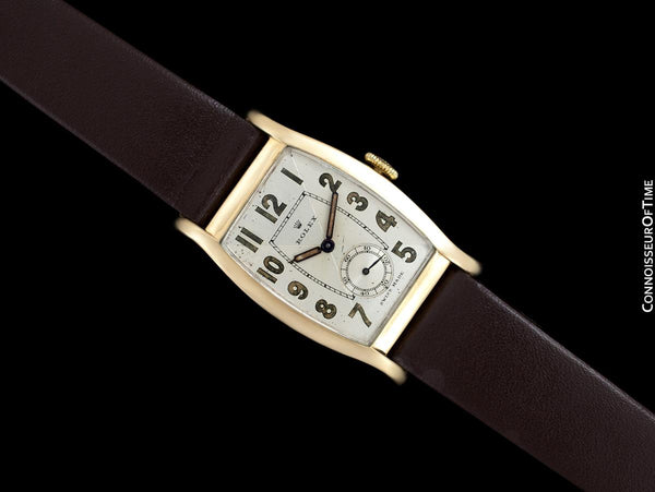 1938 Rolex Art Deco Vintage Mens Two-Tone Dial Watch - 9K Rose Gold