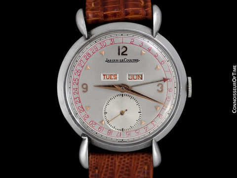 1946 Jaeger-LeCoultre Vintage Mens Triple Date Calendar Watch - Stainless Steel & 18K Rose Gold