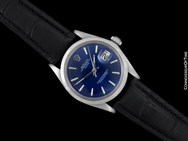 1968 Rolex Oyster Perpetual Date Ref. 1500 Vintage Mens Blue Dial Watch - Stainless Steel