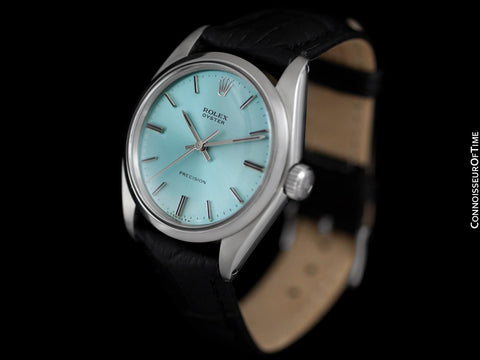 1974 Rolex Oyster Precision Classic Vintage Mens Handwound Watch with Tiffany Blue Dial - Stainless Steel