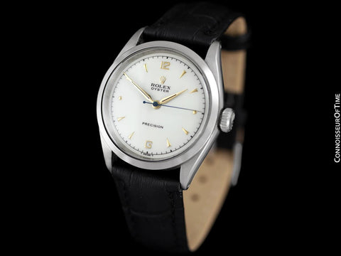 1953 Rolex Oyster Precision Vintage Mens Handwound Watch - Stainless Steel & 18K Gold