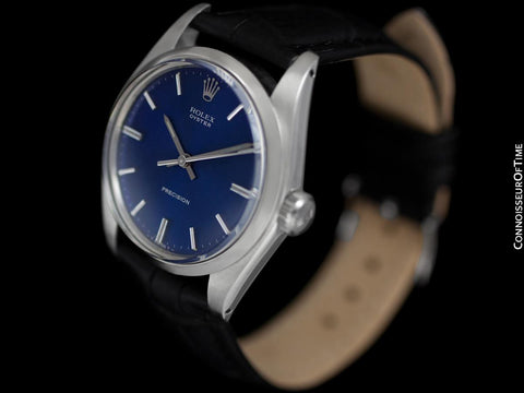 1974 Rolex Oyster Precision Classic Vintage Mens Handwound Watch with Blue Dial - Stainless Steel