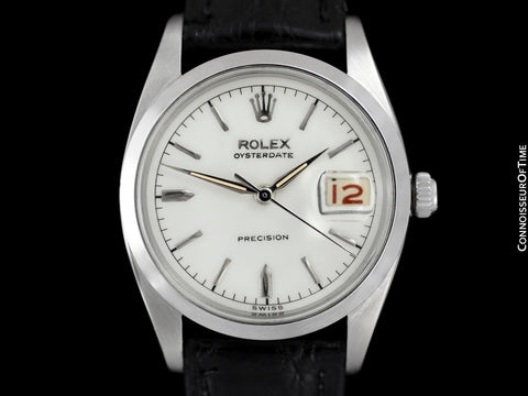 1958 Rolex Oysterdate Vintage Mens Handwound Watch with Red & Black Roulette Date - Stainless Steel