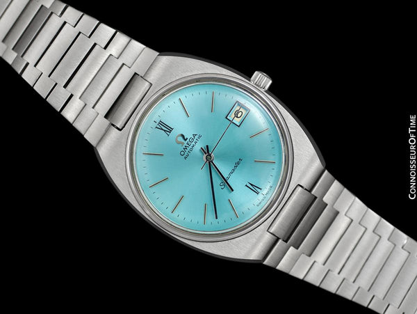 1975 Omega Seamaster Vintage Mens Bracelet Watch with Tiffany Blue Dial, Automatic, Date - Stainless Steel