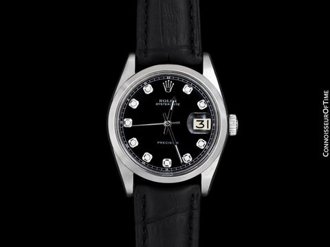 1963 Rolex Oysterdate Mens Vintage Ref. 6694 Date Watch with Black Dial - Stainless Steel & Diamonds