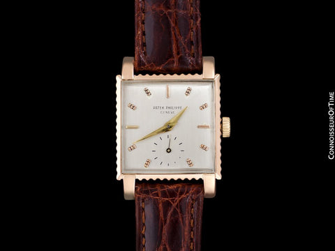 1952 Patek Philippe Vintage Mens Handwound Square Coin Edge Watch, Ref. 2472 - 18K Rose Gold with Papers