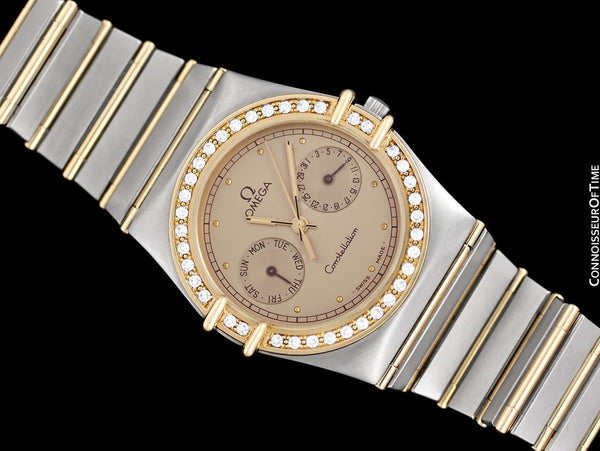 Omega Constellation Manhattan Mens 35mm Watch, Quartz, Day Date - Brushed Stainless Steel & 18K Gold with Omega Factory Diamonds