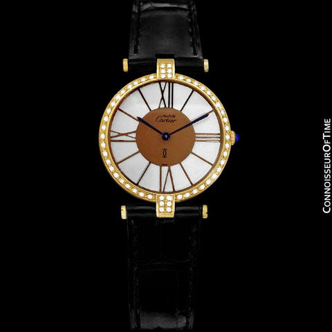 Must De Cartier Vendome Mens Unisex Vermeil Watch - 18K Gold Over Sterling Silver & Diamonds
