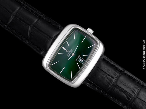 1970's Omega De Ville Mens Retro Dress TV Watch with Money Green Dial - Stainless Steel