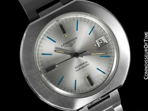 1970's Longines Admiral Retro Extra-Large Automatic Watch - Stainless Steel
