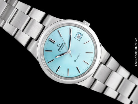 1973 Omega Geneve Vintage Mens Automatic Bracelet Watch with Tiffany Blue Dial - Stainless Steel