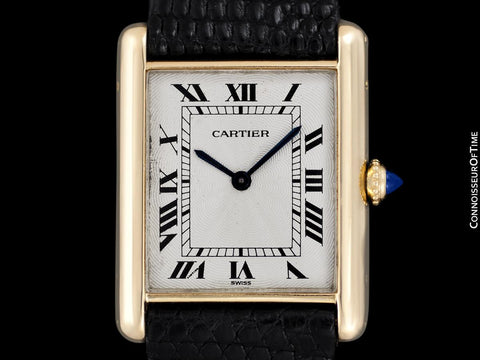 "1996 Cartier Vintage Mens ""Collection Privee"" Level Ultra Thin Solid 18K Gold Tank Watch -  Papers & Boxes"