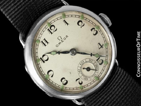 1923 Omega Vintage Mens Officer's Style Sterling Silver Watch