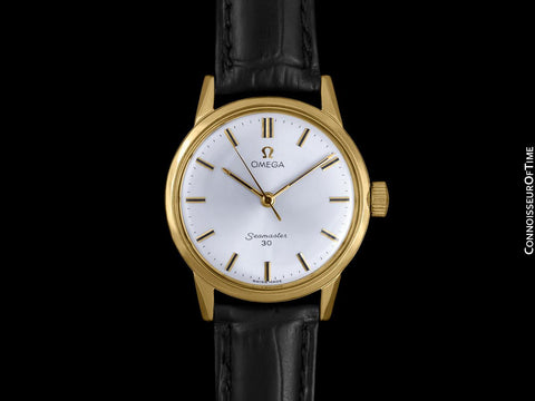 1962 Omega Seamaster 30 Vintage Mens Handwound Watch, Larger Model - 18K Gold Plated & Stainless Steel