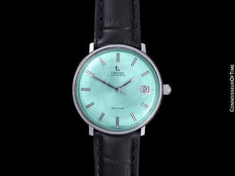 c. 1970 Omega De Ville Vintage Mens Cal. 565 Automatic Watch with Tiffany Blue Dial - Stainless Steel