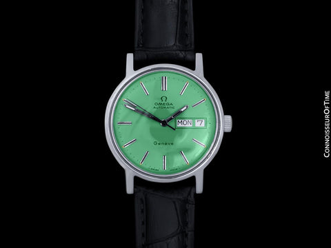 1976 Omega Geneve Vintage Automatic Day Date Mens Green Dial Watch - Stainless Steel