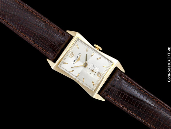 1954 Longines Vintage Mens Watch, 10K Gold Filled - Pointed Hourglass