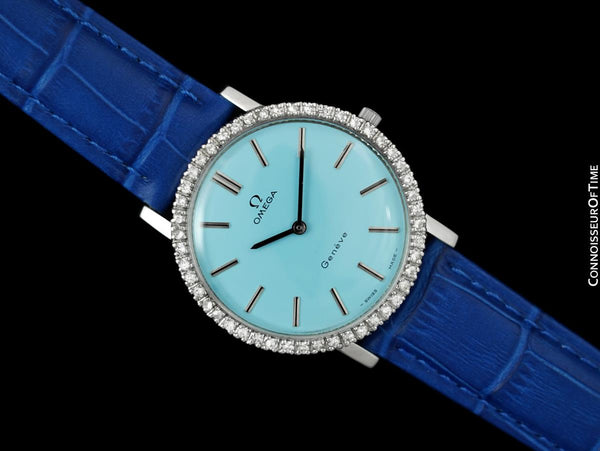 1974 Omega Geneve Vintage Mens Handwound Tiffany Blue Dress Watch - Stainless Steel & Diamonds