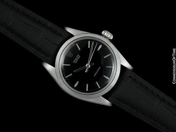 1966 Rolex Oyster Precision Classic Vintage Mens Handwound Watch with Black Dial - Stainless Steel