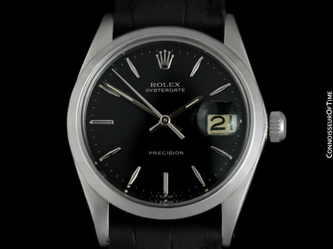 1964 Rolex Oysterdate Vintage Mens Black Dial Watch with Date - Stainless Steel