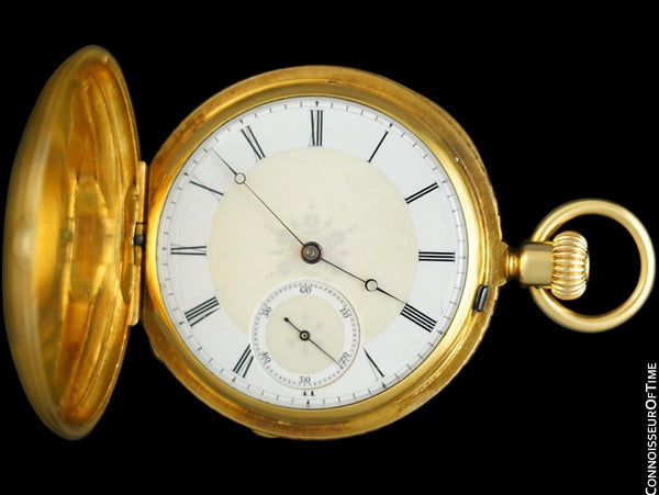 1869 Patek Philippe Antique Bespoke Midsize 40mm Hunter Case Pocket Watch - 18K Gold
